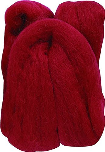 Clover 20 g 100 Percent Natural Wool Roving, Red